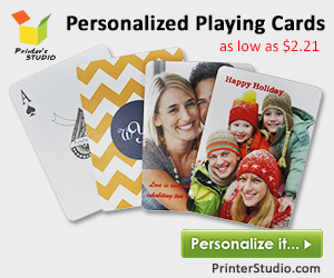 Create a deck of personalized playing cards featuring your favorite photos, monogram or artwork design! As low as $2.21