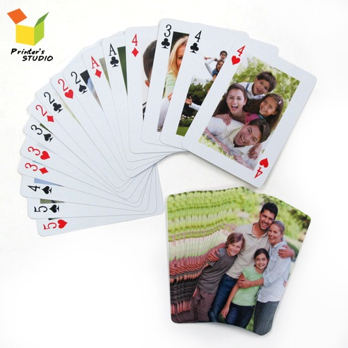 Design your own custom front and back playing cards with your own photos, pictures or artworks.