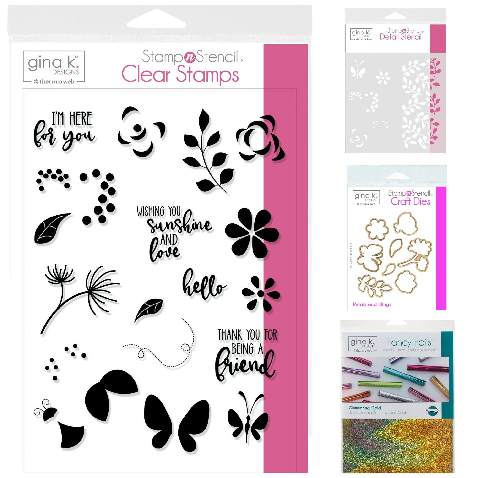 Gina K. Designs StampnStencil Crazy Petals & Wings
