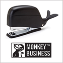 Whale shaped stapler - with a head for storage! Available in Black & White.