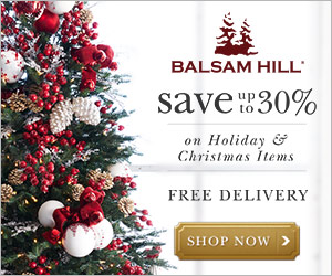 Ad for Christmas decor sale at Balsam Hill