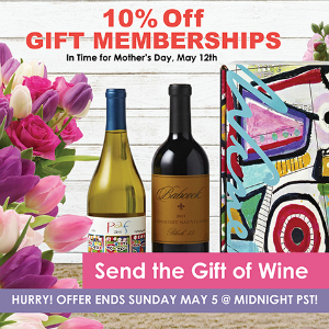 Give the Gift of Wine this Mother's Day! Take 10% Off all Gift Memberships at Wine Of The Month Club. No Code Required. Offer expires 5/5.