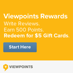Write reviews, earn 500 points and redeem $5 gift cards through Viewpoints Rewards