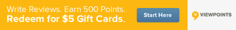 Write reviews, earn 500 points and start redeeming $5 gift cards from Viewpoints