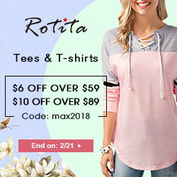 Tees &T-shirts:$6 Off Over $59 $10 Off Over $89 Code: max2018 End on: 2/21