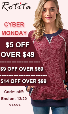 Cyber Monday: $5 Off Over $49, $9 Off Over $69, $14 Off Over $99, Code: off9 End on: 12/20