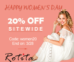 Happy Women's Day 20% Off Sitewide Code: women20 End on: 3/28