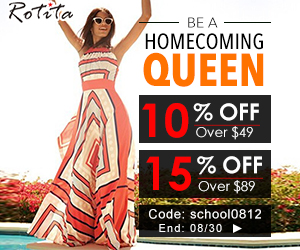 Back to school day sale: get ready for homecoming day! Rotita provide you $5 over $49, $10 over $89 with coupon code: school0812, end on August 30th.