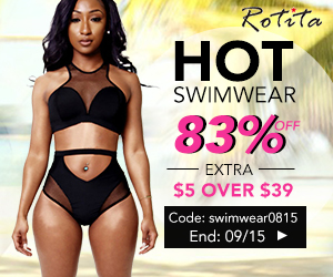 Swimwear promotion: bikini, mnokini, and cover ups up to 83% off. Rotita provide you extra $5 off with coupon code: swimwear0815 for orders over $39. End on September 15th.