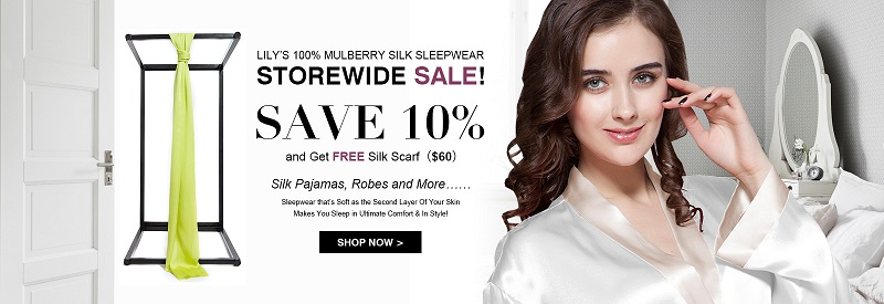 Save 10% + Free Silk scarf($60) on silk pajamas, robe, and more....100% Silk Only, Free US Ship! Shop now!