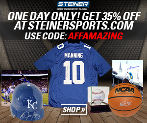 11/29 Only: 35% off at SteinerSports.com with code AFFAMAZING