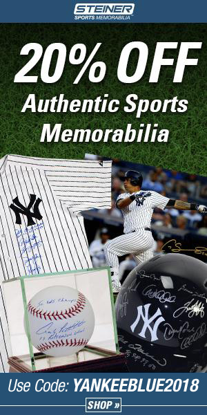 20% Off at SteinerSports.com with code YANKEEBLUE2017
