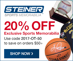 20% Off Orders $50+ at SteinerSports.com with code 2017-OT-50