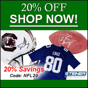 NFL Pre-Season: 20% off NFL items with code NFL20 at SteinerSports.com