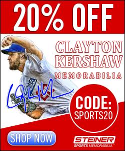 20% Off Clayton Kershaw Memorabilia at Steiner Sports, code SPORTS20