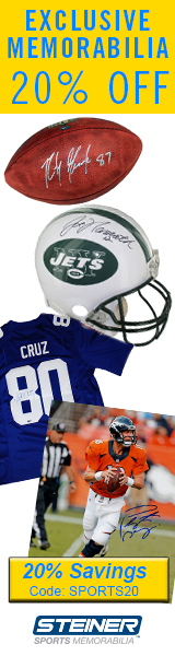 20% Off NFL Memorabilia at SteinerSports.com, code SPORTS20