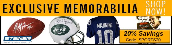 20% Off NFL Memorabilia at Steiner Sports, code SPORTS20