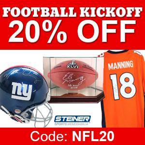 20% Off Football Memorabilia at SteinerSports.com, code NFL20