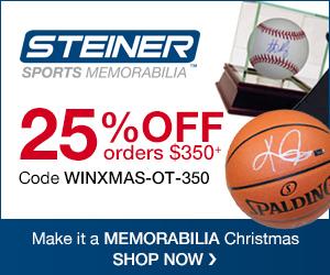 25% OFF $350+ at SteinerSports.com! Use code WINXMAS-OT-350