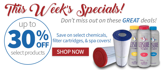 Hello Savings! Save Up to 30% Off Chemicals, and Up to 20% Off Filter Cartridges & Spa Covers at HotTubWorks.com! Valid through 3/7/18. Shop Now!