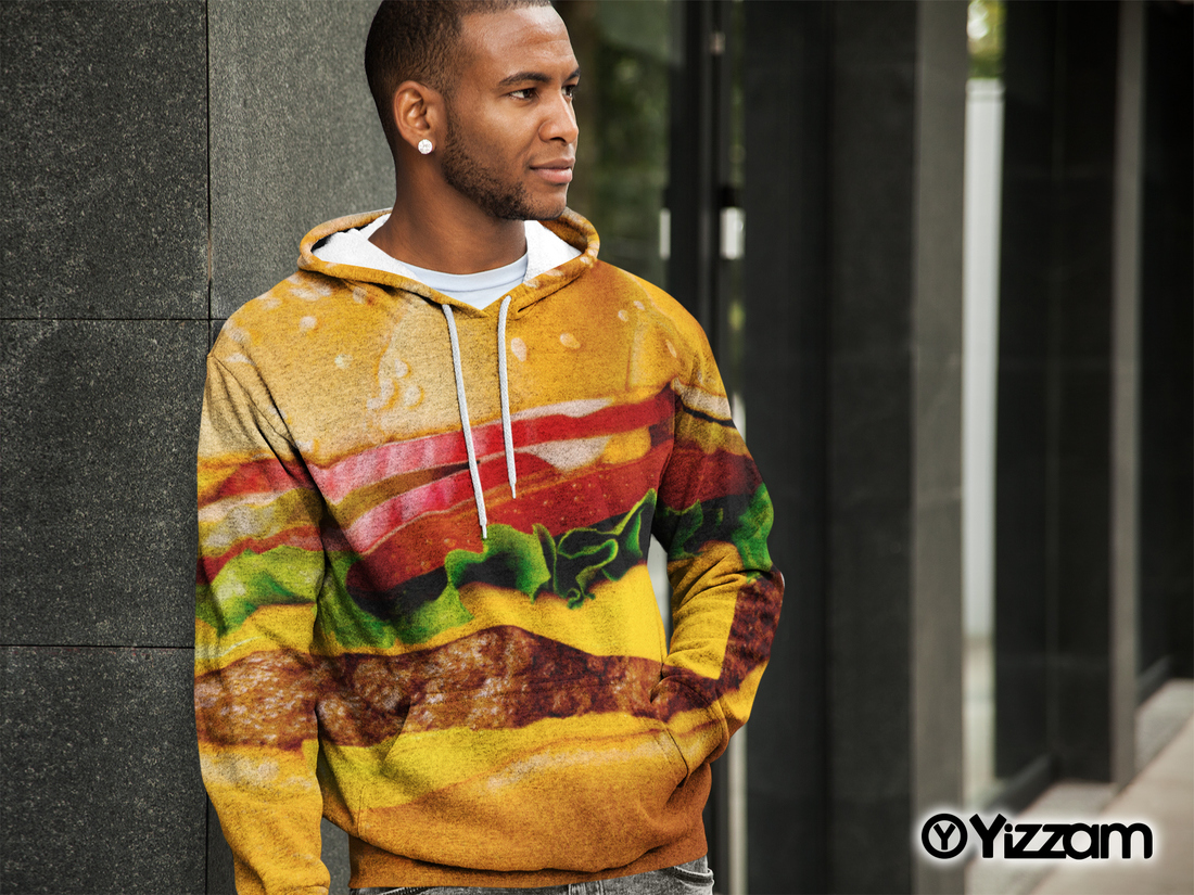 yizzam Hamburgers and Fries Mens Hoodie Sweater