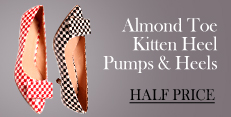 Almond toe Kitten Heel Shoes at Half Price!