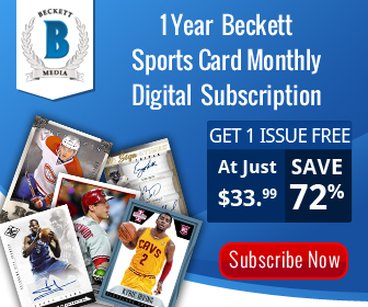 Save 72% and Get 1 issue FREE  on 1 Year  Beckett Sports Card Monthly Digital  Subscription for  $33.99