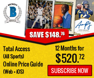 Save $148.76 on 12 Month Total Access (All Sports) Online Price Guide (Web + iOS) Subscription For $520.72