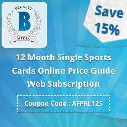 15% Off on 12 Month Single Sports Cards Online Price Guide Web Subscription.Use Coupon Code : AFPRL12S