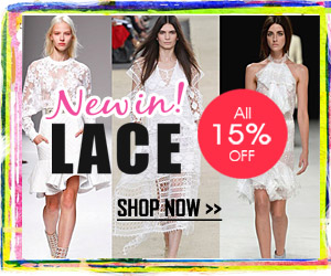All 15% off, New in LACE TRENDS for spring/summer 2014, ends on Mar 31, 2014