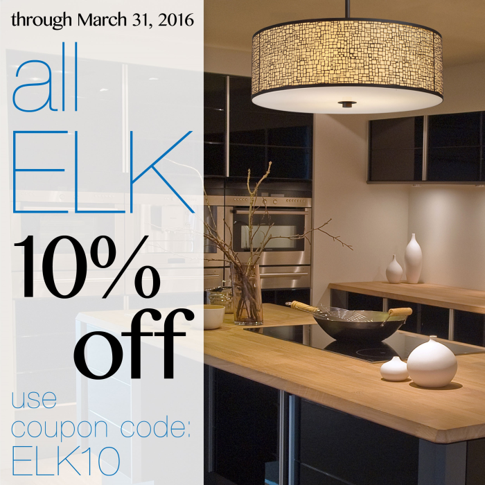 10% off all Elk Lighting at LightsOnline.com!