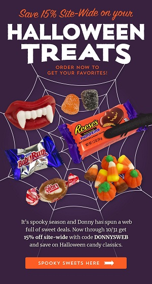 Halloween Candy Is Here And On Sale! Save 15% Off Using Code: DONNYSWEB + Free Shipping On Orders $250+ At Old Time Candy! Sale is Good 10/6 Thru 10/31/20!