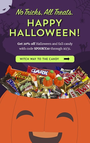 SAVE 20% ON HALLOWEEN CANDY & FALL TREATS + Free Shipping On Orders Over $250 At Old Time Candy! Use Code: SPOOKY20 At Checkout!