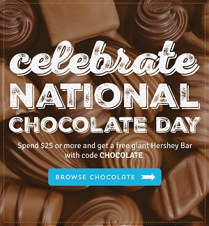 Why Not Treat Yourself – It's National Chocolate Day – Spend $25 At Old Time Candy & Get A Free Giant Hershey Bar!  Use Code CHOCOLATE At Checkout! Hurry Sale Ends 7/14/16!