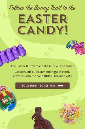 Save 20% Off ALL Easter Candy & Site Wide Sale Too! Use Code: HOP20 At Checkout! Shop Here! Hurry Sale Ends 4/21!