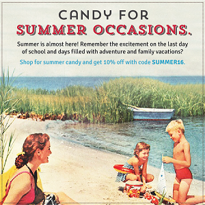 Summer Candy Sale At Old Time Candy! Shop For Summer Candy and Save 10% Off Your Order!Use Code: SUMMER16 At Checkout!