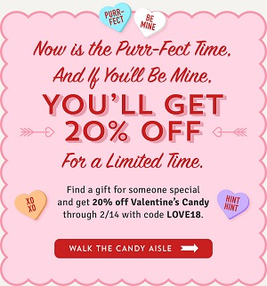 Valentine's Day Candy Sale! Save 20% Off Valentine's Day Candy Using Code: LOVE18 At OldTimeCandy.com!
