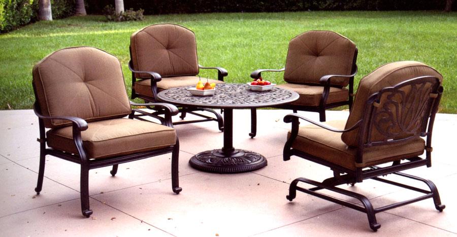 Heritage Outdoor Living Elisabeth Cast Aluminum 5pc Outdoor Spring Club Chair Set - Antique Bronze
