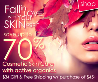 Save Up To 70% on organic skin care products.