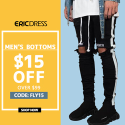 Ericdress Men's Bottoms $15 off $99, Code: fly15