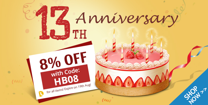 Celebrate 13th Anniversary with 8% ...