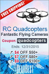 "RC Quadcopters: Free Shipping and $4 off $50+, $7 off $80+, $9 off $100+, $14 off $150+ with Coupon ""quadcopters"". (Ends: 12/31/2015)"