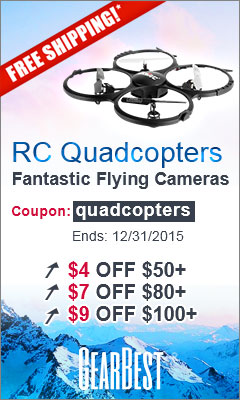 """RC Quadcopters: Free Shipping and $4 off $50+, $7 off $80+, $9 off $100+, $14 off $150+ with Coupon """"quadcopters"""". (Ends: 12/31/2015)"""