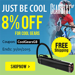 Just Be Cool! 8% OFF + Free Shipping for All Cool Gears at gearbest.com with Coupon: CoolGearsGB! (Ends: 31/01/2015)