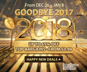 Enjoy flash sale from $0.99 and Up to 65% OFF from GearBest 2018 new year sale!