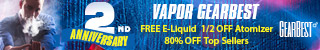 Enjoy 80% OFF for Top Sellers and get free e-liquid @GearBest Vape Flagship Flash Sale.