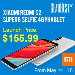 $159.99 for Xiaomi Redmi S2 @GearBest from May 14-18.