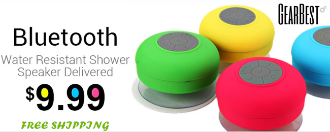 Only $9.99 + Free Shipping for Water Resistant Shower Speakers!