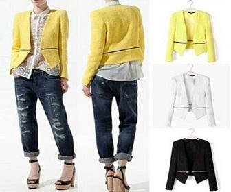 Fashion Solid Color Long Sleeve Detachable Zipper Blazer, $36.99+Free Shipping