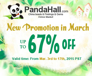 Up to 67% Off on Beads and Findings, valid time: From Mar. 3rd to 17th 2015 PST.